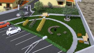 Vista verde e parcheggio pubblico